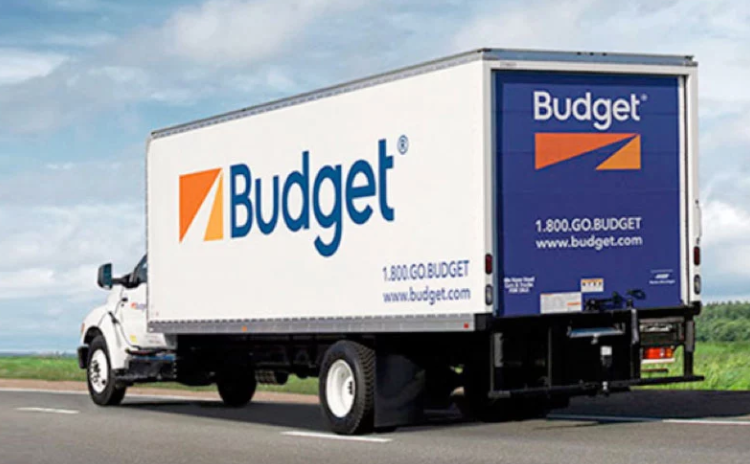budget truck on road