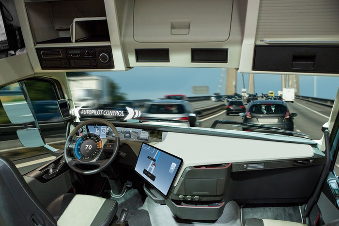 cab of a driverless truck