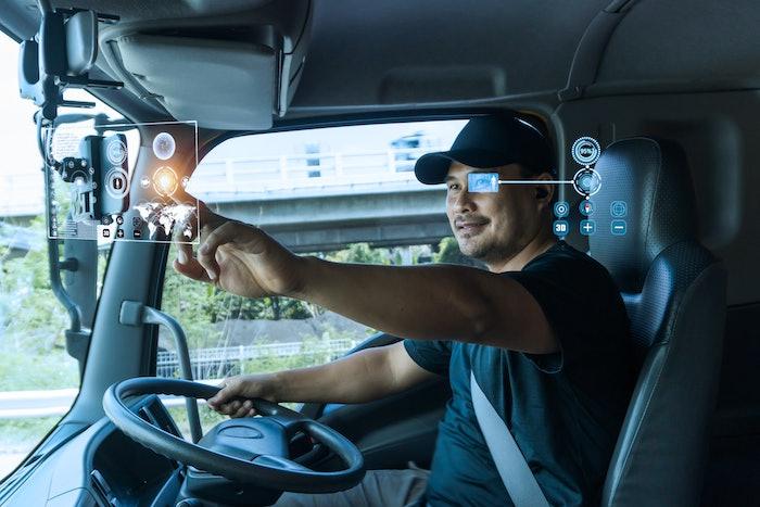futuristic truck driver