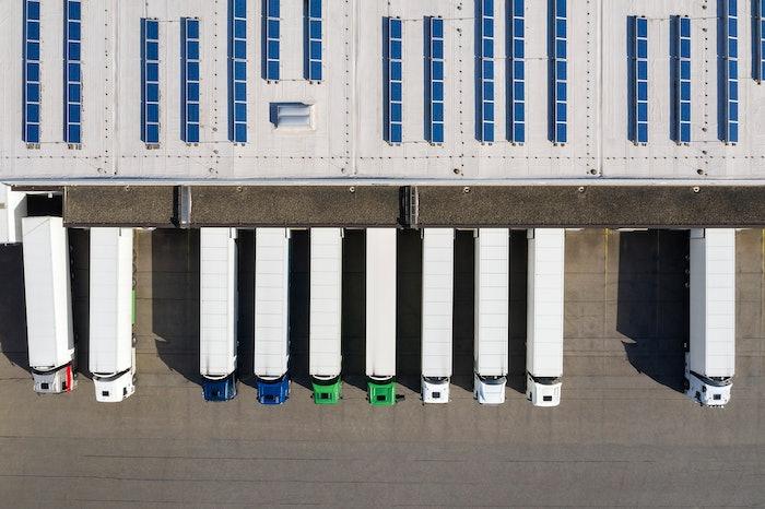 trucks parked at dock