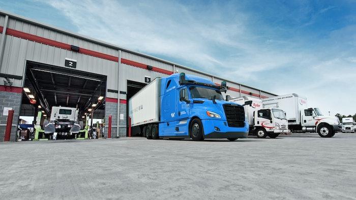 Wayme truck in a maintenance bay