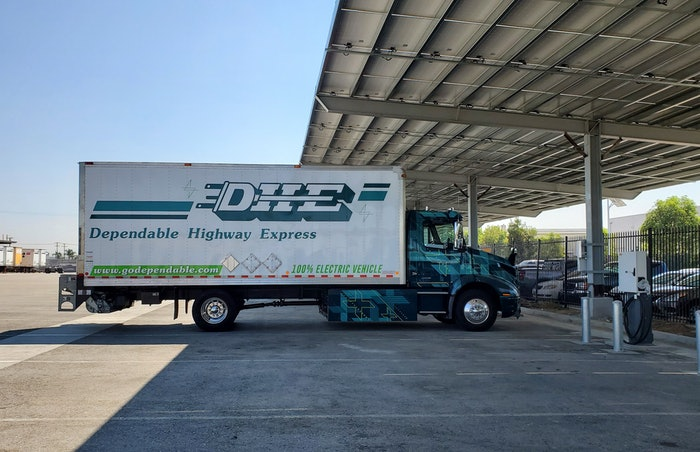 DHE in Ontario, Calif. has swapped out all of its internal combustion freight equipment for battery-powered models. An electric Volvo VNR is shown above.