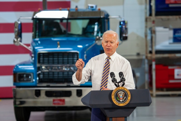 Joe Biden at Mack Trucks' plant