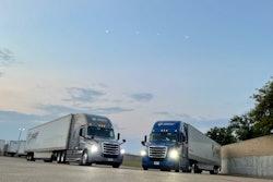 Semis in a parking lot
