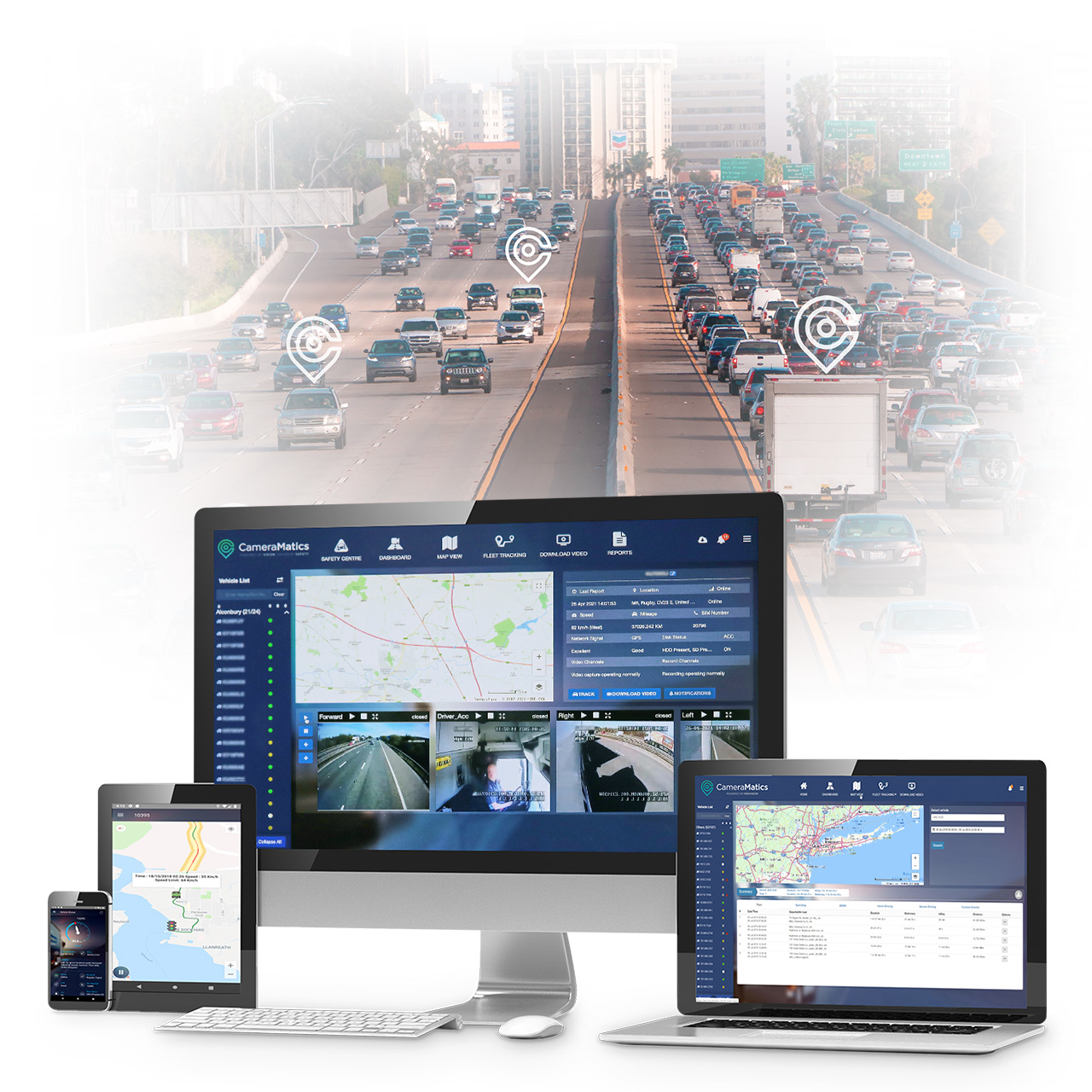 CameraMatics platform on smartphone, tablet, imac computer and laptop with highway in the background