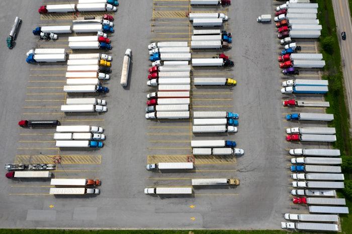 parking lot of trucks