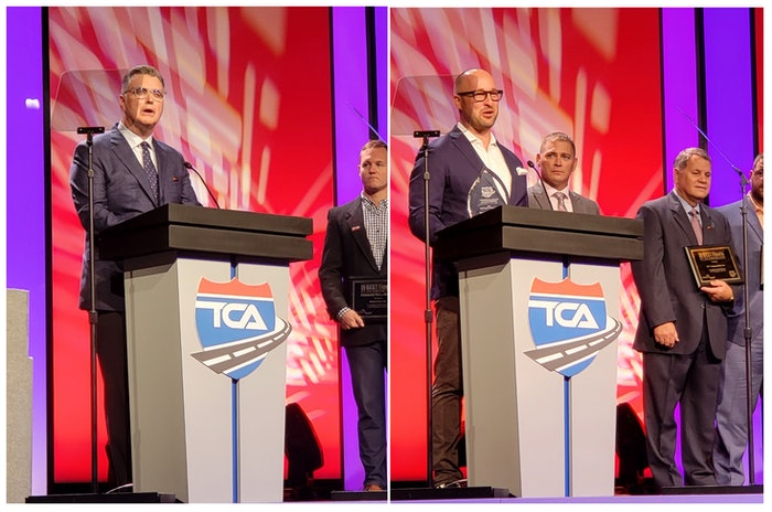 Brent Nussbaum, CEO of Nussbaum Transportation Services, (left) and Andrew Boyle, co-president and CFO of Boyle Transportation, (right) accept the Best Fleet to Drive For awards at the 2021 Truckload Carriers Association Annual Conference.