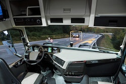 inside cabin of a self-driving truck