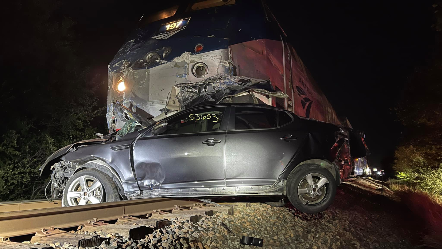 The collision damaged and partially derailed the Amtrak train and damaged half a mile of track.