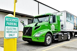 A Volvo VNR Electric at Manhattan Beer Distributors in New York City. It takes more semiconductors to produce zero-emission trucks versus internal combustion .