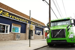 Manhattan Beer Distributers took delivery of a Volvo VNR Electric in August in New York City.